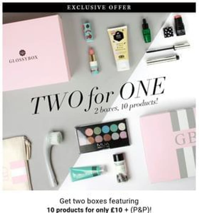 2 For 1 offer at Glossy Box!! No code just follow link.