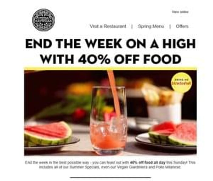 40% off food bill at Pizza Express Valid on Sunday 2nd July 2017