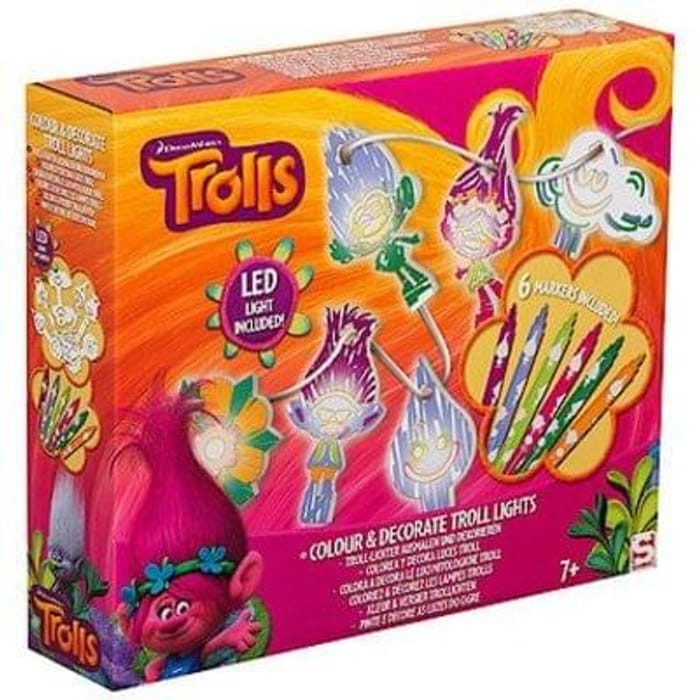 HALF PRICE & FREE DELIVERY: DreamWorks Trolls Colour & Decorate Fairy Lights