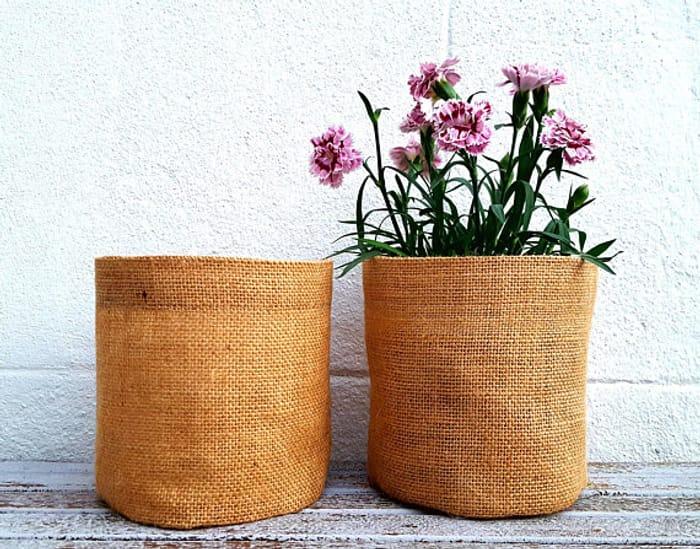 ROUND BURLAP SACK Jute Hessian Organiser Storage Bag Garden Gift Birthday