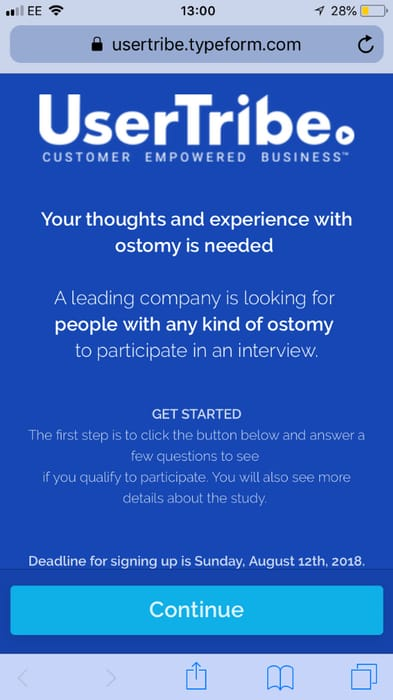 Usertribe Survey for Ostomy Patients £55