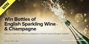 Bottles of English Sparkling Wine and Champagne